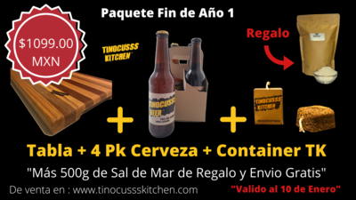 Promo Fin de Año (Tabla + 4 Pack Cerveza Mixto + Container TK + (Sal de Mar y  Envío gratis)