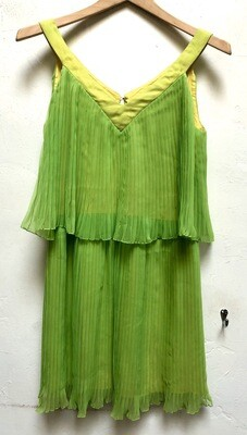 Vintage 1960s Young Edwardian  Green Neon Dress