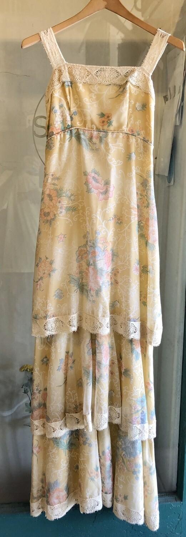 Vintage Floral Long Dress / 1970's