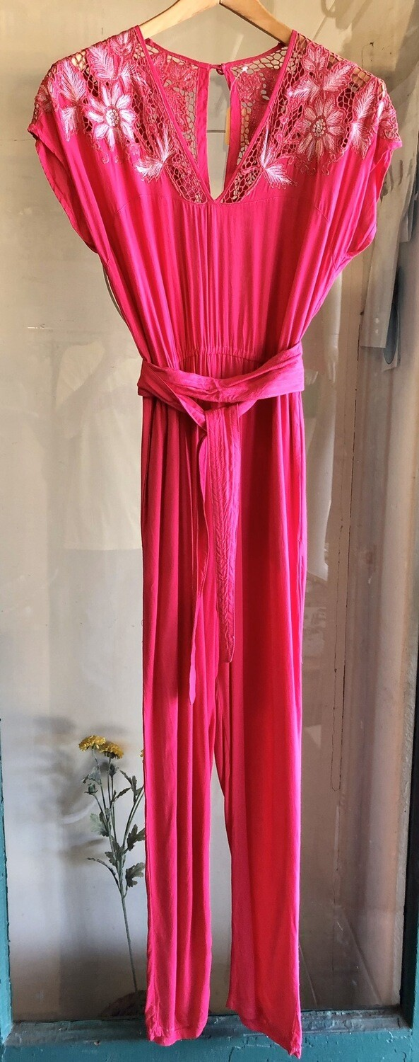 Vintage Rayon Pink Jumpsuit / 1970's or 80's