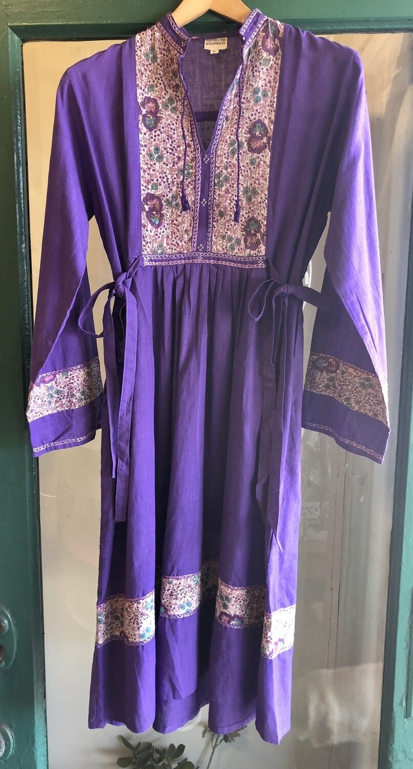 Vintage Indian Cotton Purple Dress / Deadstock