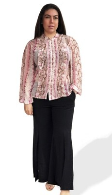 Monica the Label Primrose Pleated Pink Snake Shirt