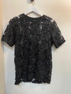 22O2 World Black Flower Embossed T-Shirt