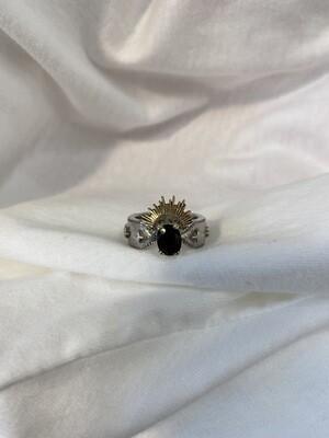 Halo & HurtAussie Black Sapphire 9 Yellow Ring