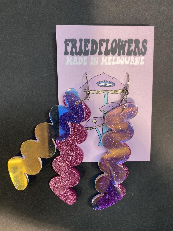 Fried FlowersAcrylic Zig Zag Earrings