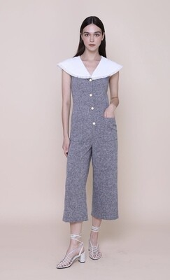 The Only Label Virgin Mary | Tweed Jumpsuits With Frayed Cape Collar And Vintage Buttons