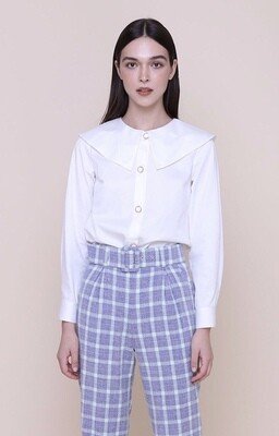 The Only Label White Cotton Shirt With Peter Pan Collar