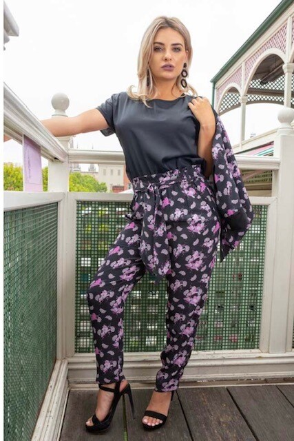 Cissy & Flo Amelia Silk Resort Pants – Black Magnolia