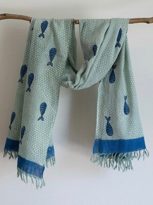 Summer Boat Khadi Mint Scarf With Fishes