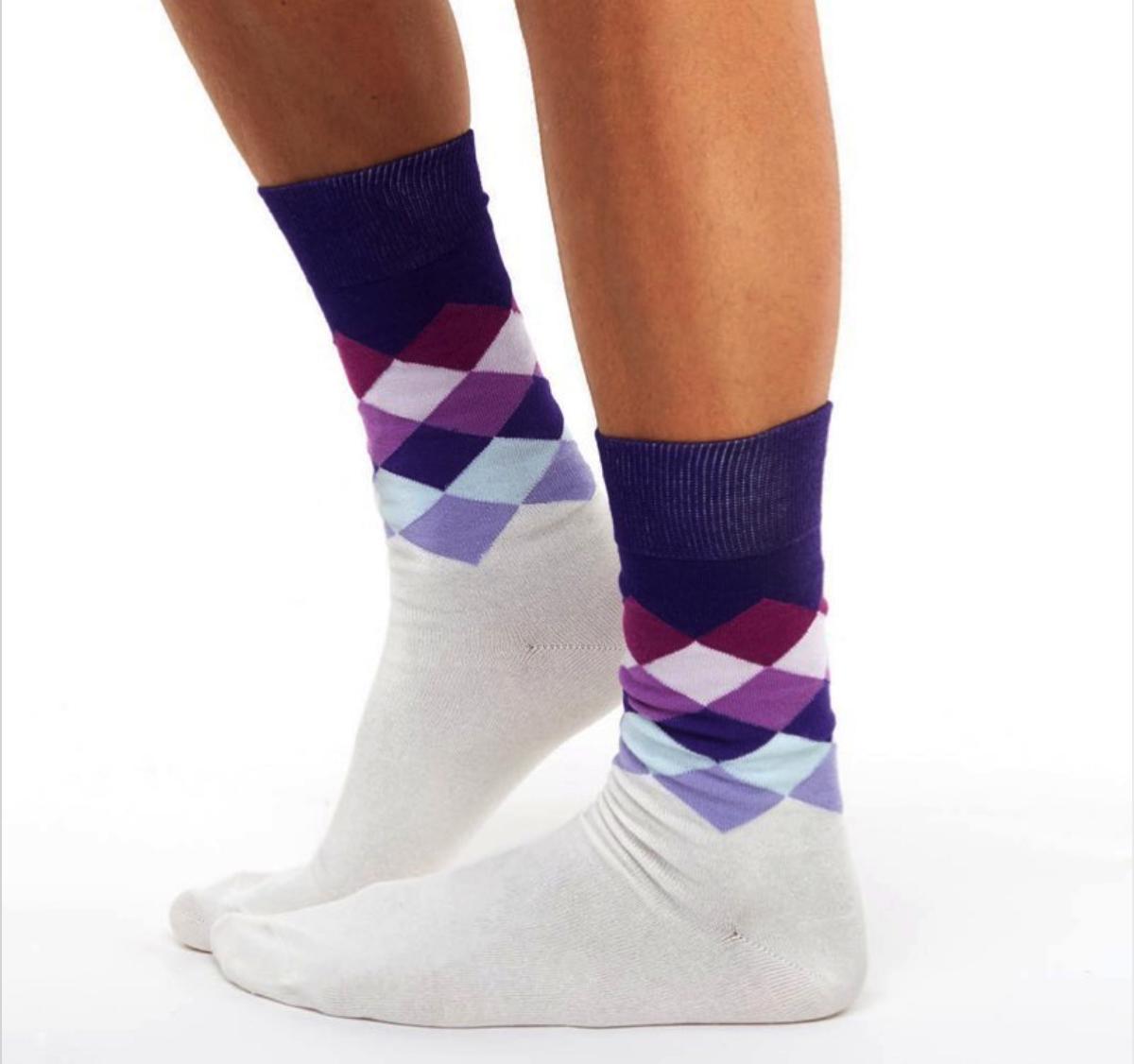 Chusette Violet Patterned Socks Size 43-46