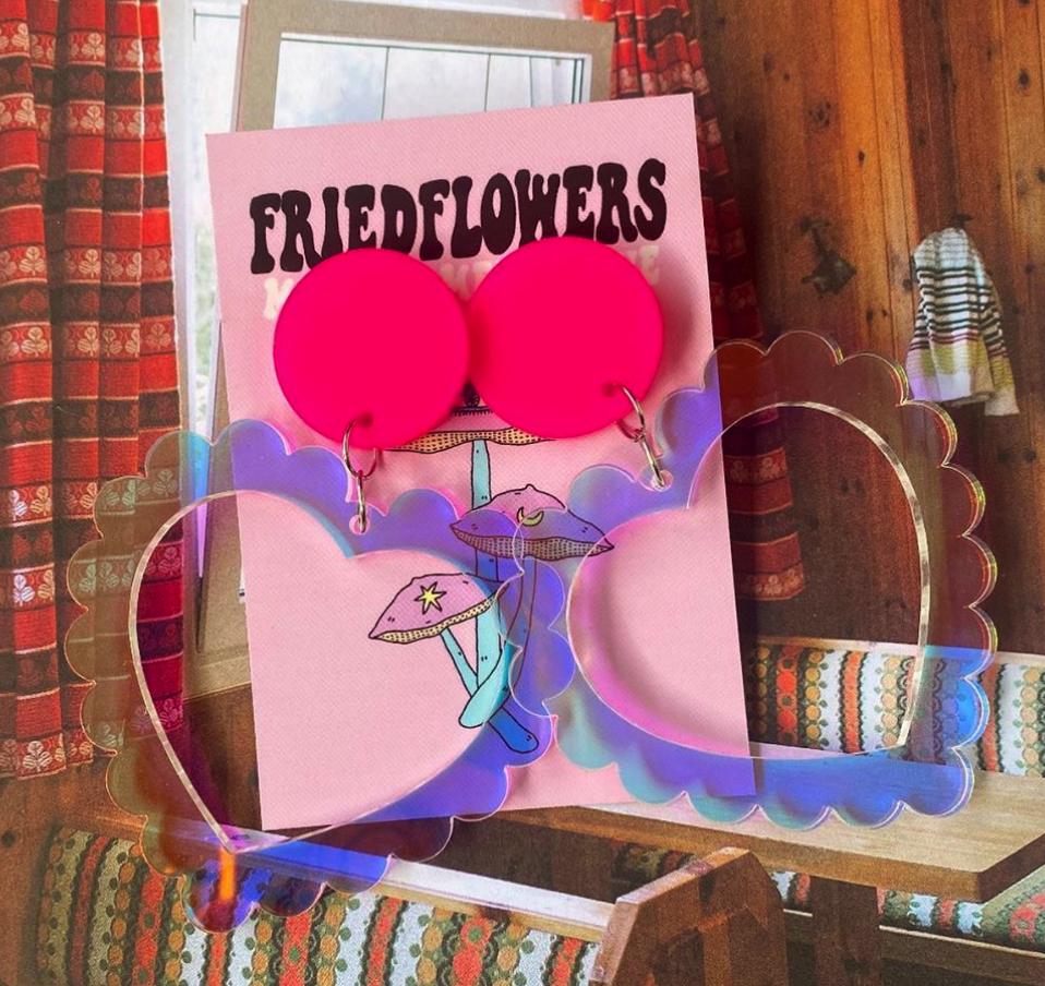 Fried Flowers Giant Iridescent Heart Statement Earrings