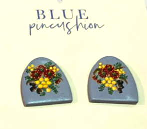 Blue Pincushion Handpainted Earrings