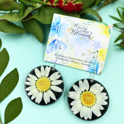 Once Upon a Blossom White Daisy Hoops