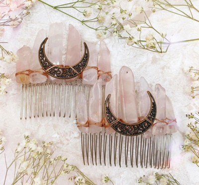 Left Made Rose Quartz Comb