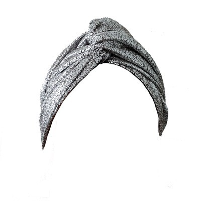 CELINE MARTINE JOSPEHINE WIRED HEADWRAP LIQUID FOIL SILVER