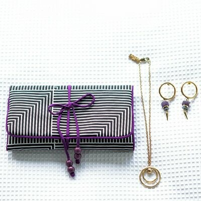 THE ELSEWHERE CO SILK JEWELLERY ROLL LARGE CANDY VIOLET
