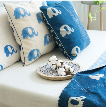 SUMMERBOAT KHADI WHITE AND LIGHT INDIGO ELEPHANT CUSHION