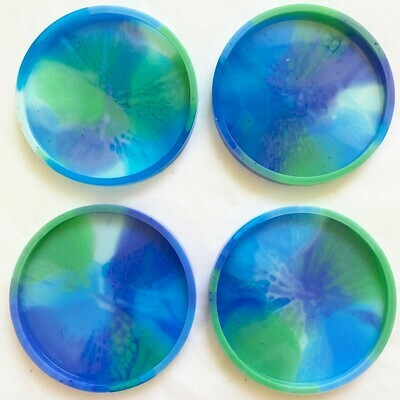 HAPPY HAPPY JOY CLUB BLUE/GREEN COASTERS SET OF 4