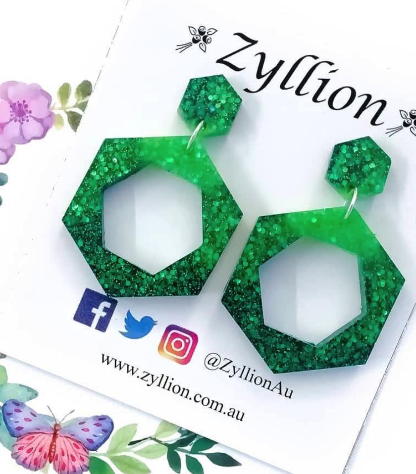 Zyllion Green Gradient Hexagon Earrings
