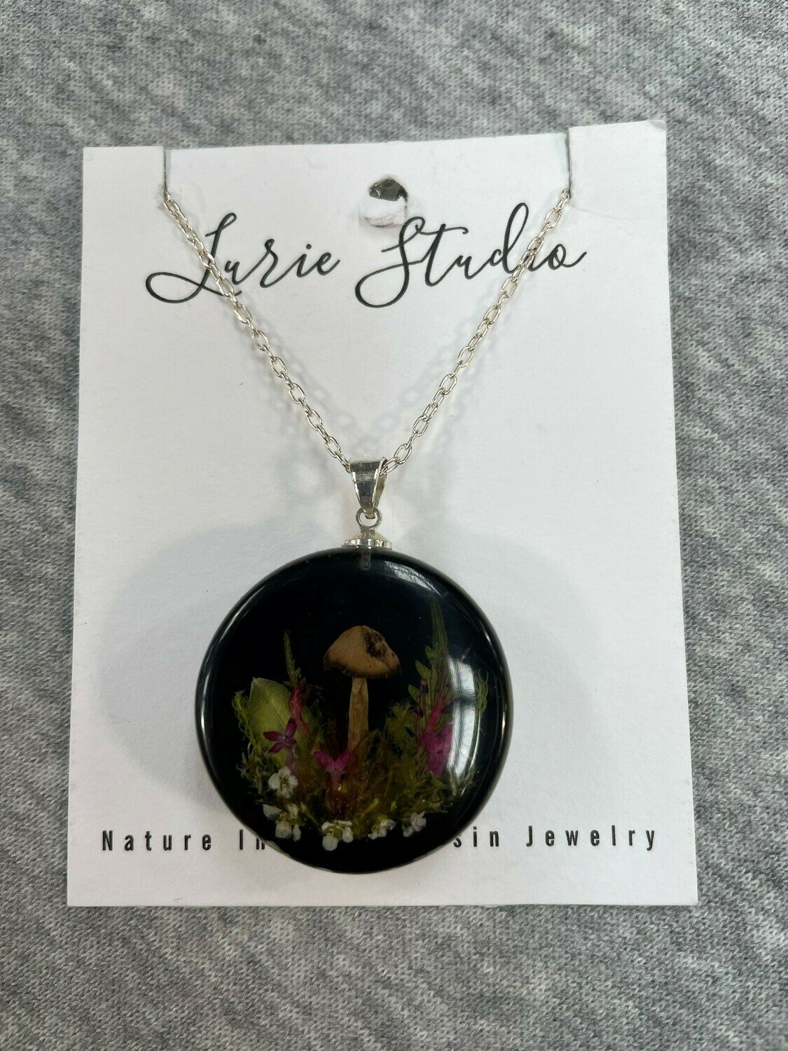 Lurie Studios Mushroom Necklace Black with Silver Plated Chain