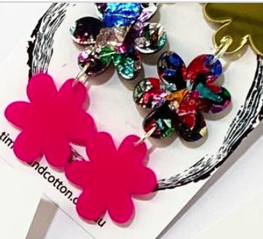 Timber & Cotton Acrylic Flower Dangles