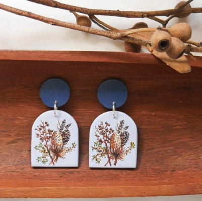 BLUE PINCUSHION DETAILED HAND PAINTED EARRINGS