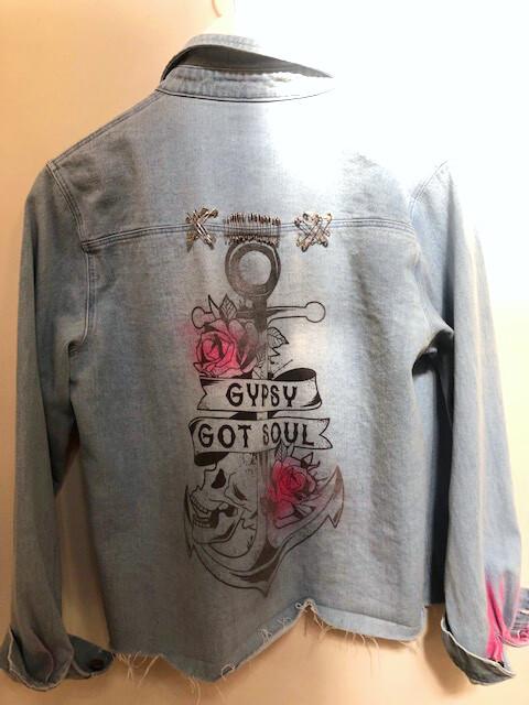 GYPSY GOT SOUL Anchor Custom Screen Printed Denim Jacket XL