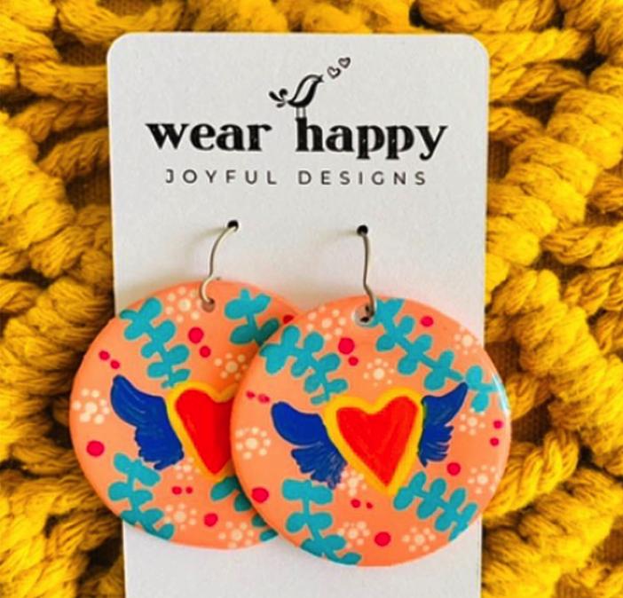 WEAR HAPPY JOYFUL DESIGNS TELL IT TO MY HEART EARRINGS