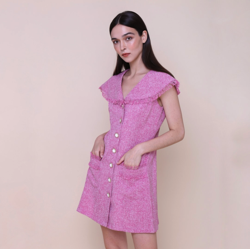 THE ONLY LABEL WISHING GIRL DRESS PINK TWEED