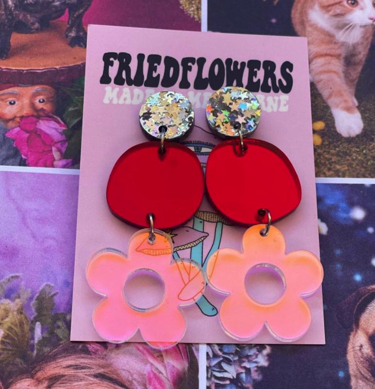 Fried Flowers Mirror Flower Dangles