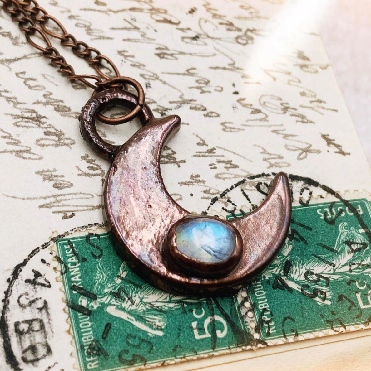 Left Made Moonstone Crescent Necklace