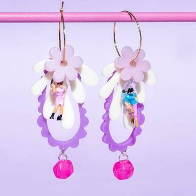 Funky Fun You Thumbelina Purple Earrings