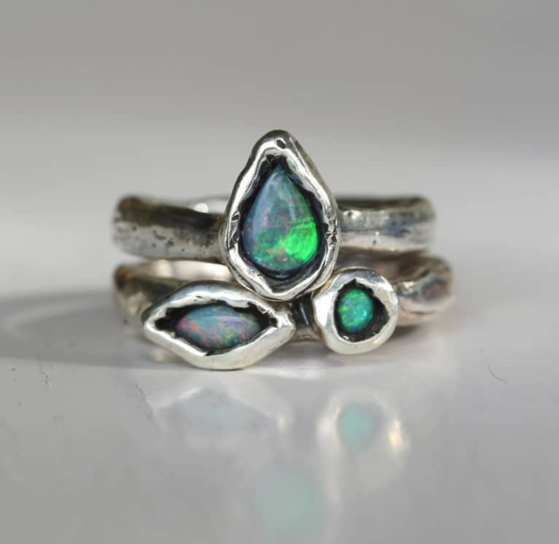 JUX Sterling Silver Ring with Double Opal Size L
