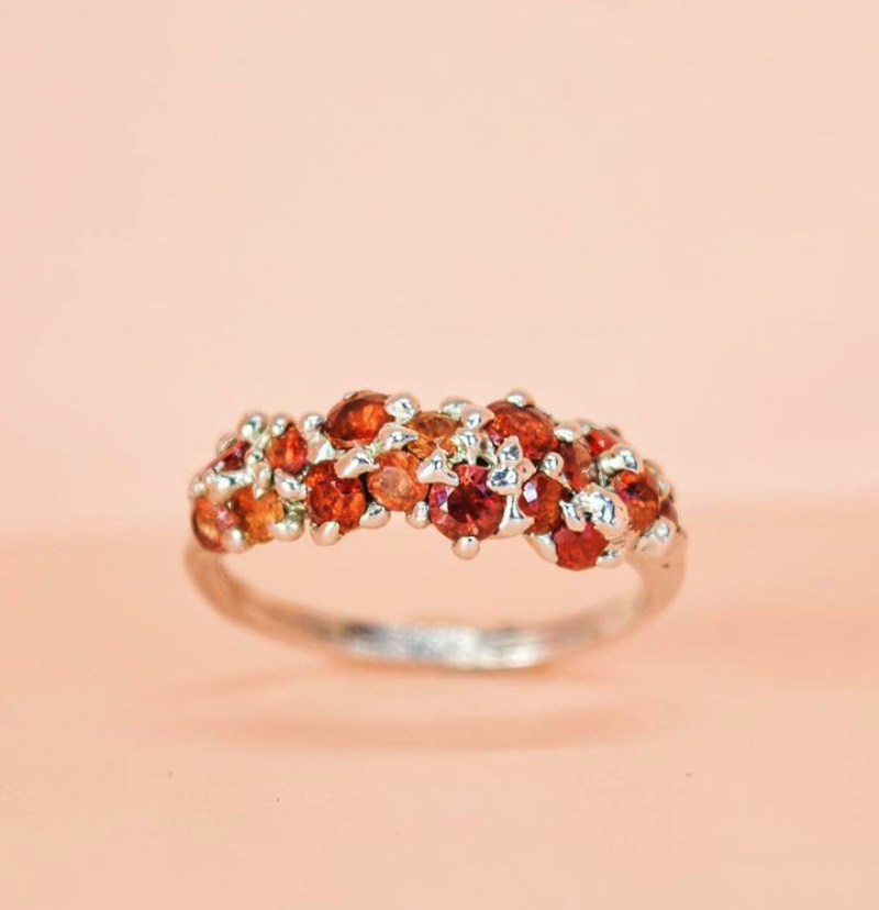 SEBO JEWELLERY CLUSTER RING WITH 16 RED SAPPHIRES SIZE N