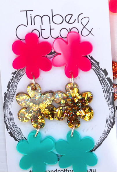 Timber & Cotton Pink/Gold/Teal Flower Dangles