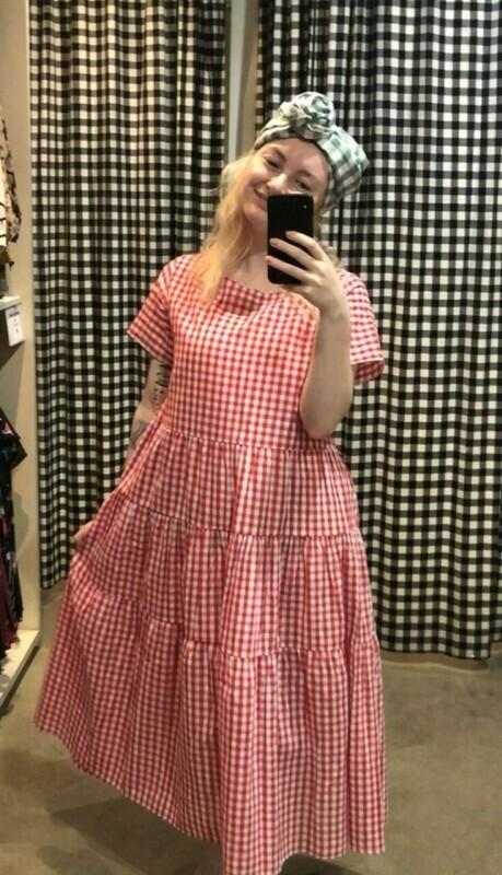 Bingo Betty Tiered Gingham Dress Red - ONE SIZE