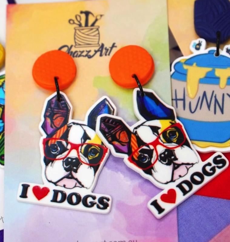 SHAZZ ART I Love Dogs Statement Earrings