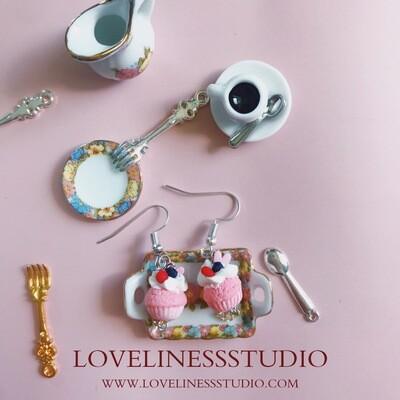 LOVELINESS STUDIO BERRY CUPCAKE EARRINGS