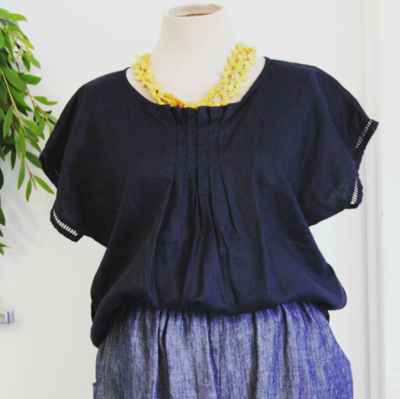 BY ALISON MAE NAVY Pleat Front Top