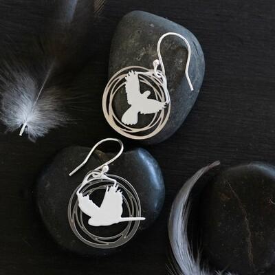 ROBIN WELLS JEWELLERY White & Steel Flight Earrings