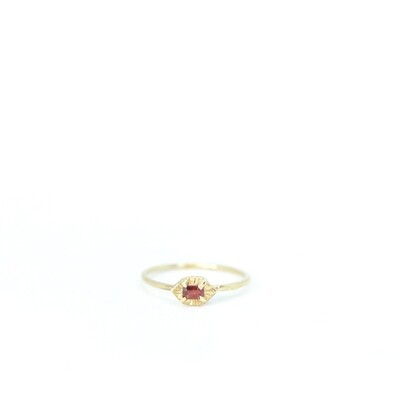 SEBO JEWELLERY 9 CT YELLOW GOLD RED SAPPHIRE RING SIZE L