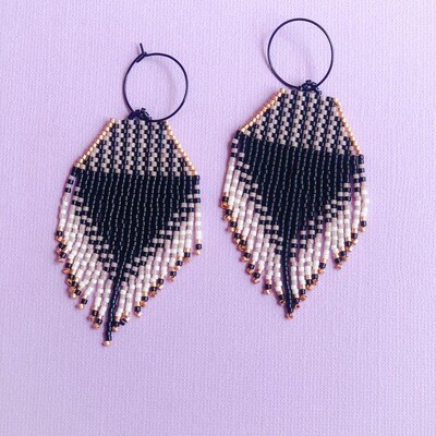 THE SPOTTY ROSE BLACK STAINLESS STEEL HOOPS MINI CHECK BEADED