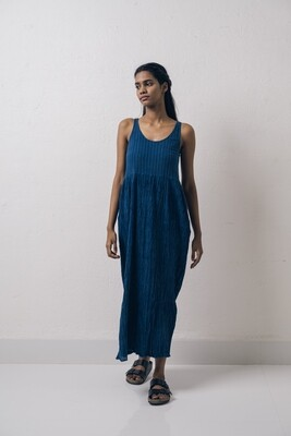SALT MANGO TREE SAPPHIRE BLUE CRUSHED COTTON DRESS SIZE S