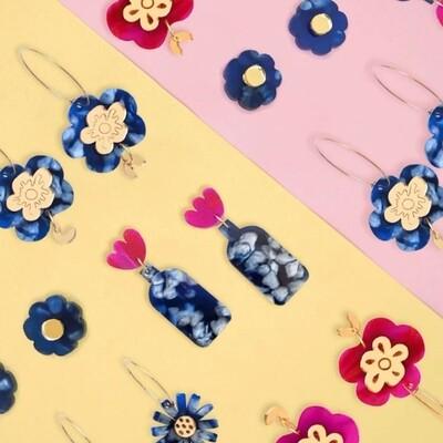 DASH OF GOLD EARRING - Blue Flower Handmade Acrylic Earrings