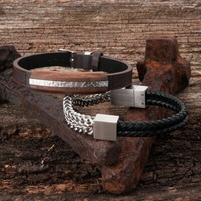 KAVALRI - ARMOUR DOUBLE LEATHER & STEEL BRACELET - BRUSHED SILVER