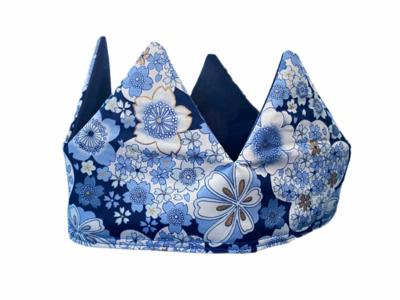 ALFIE & ALICE - Reversible Fabric Crown - Blue Floral