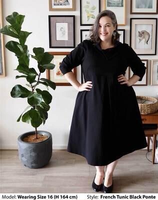 CHASING SPRINGTIME - PLUS SIZE BLACK PONTE DRESS FRENCH TUNIC
