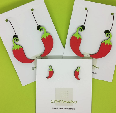 2904 CREATIONS PAINTED CHILLI EARRINGS - DANGLES
