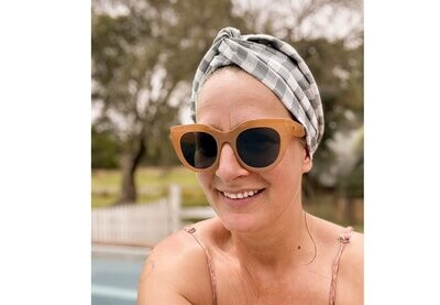 CELINE MARTINE - Josephine Wired Head Wrap in Duck Egg Check