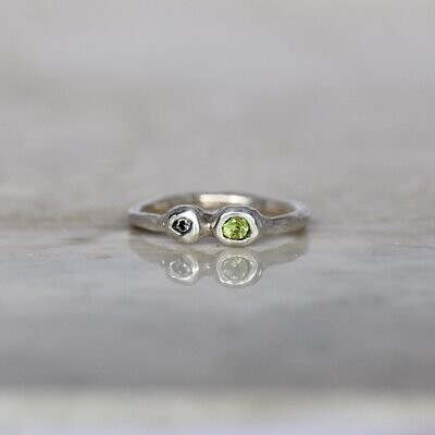 JUX - PERIODOT AND CUBIC ZIRCONIA RING